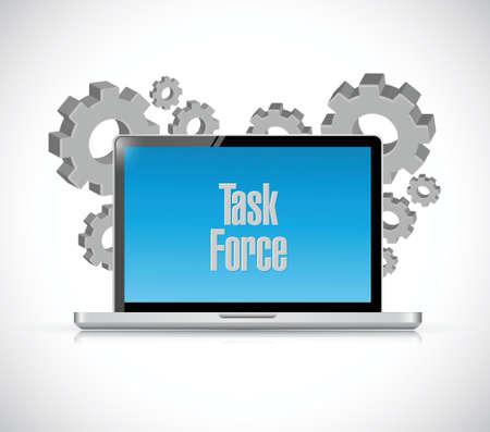 force: task force computer sign concept illustration design graphic Illustration