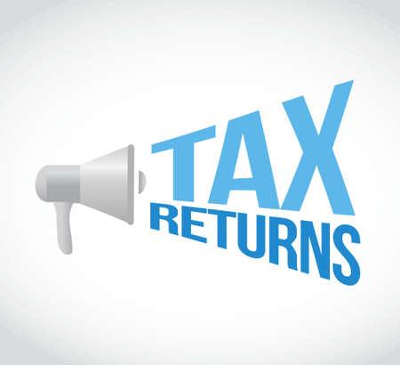 tax returns: tax returns megaphone sign concept illustration design graphic