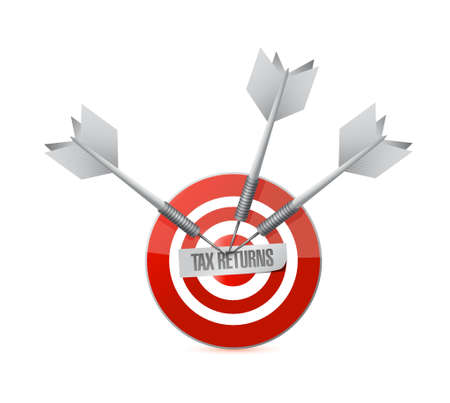 returns: tax returns target sign concept illustration design graphic