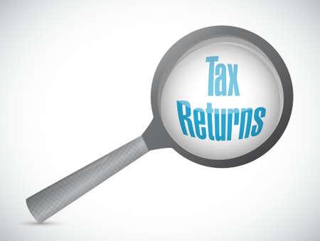 Declaraciones de impuestos ampliar el vidrio signo concepto de ilustración, diseño gráfico Foto de archivo - 52757375