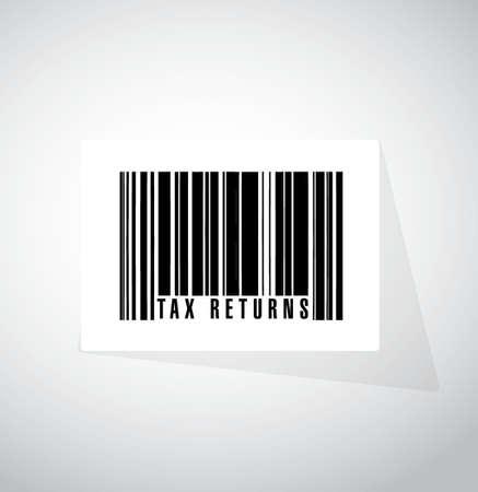 tax returns: tax returns barcode sign concept illustration design graphic