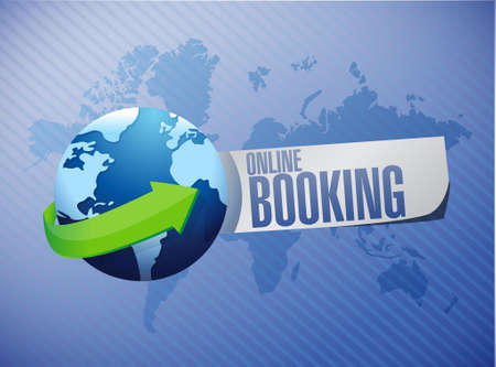 online booking global sign concept illustration design graphic