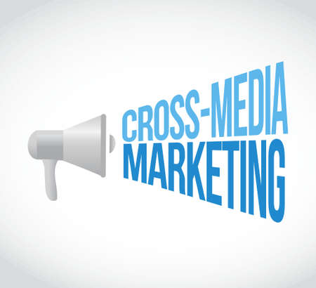 cross: cross-media marketing megaphone message concept illustration design graphic