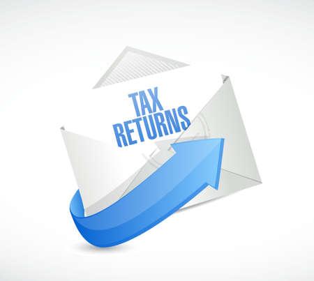 returns: tax returns mail sign concept illustration design graphic
