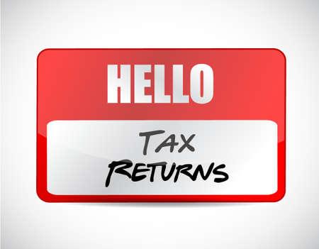 returns: tax returns name tag sign concept illustration design graphic