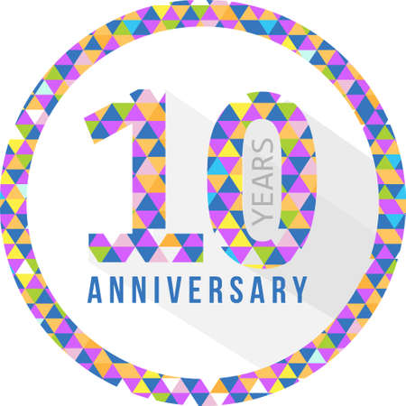 ten years jubilee: 10 year anniversary triangle shape grey sign pattern background illustration design graphic