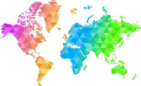 triangle shape multi-color world map illustration design graphic