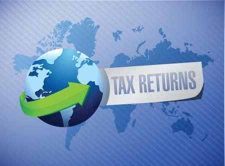 returns: tax returns global sign concept illustration design graphic Stock Photo