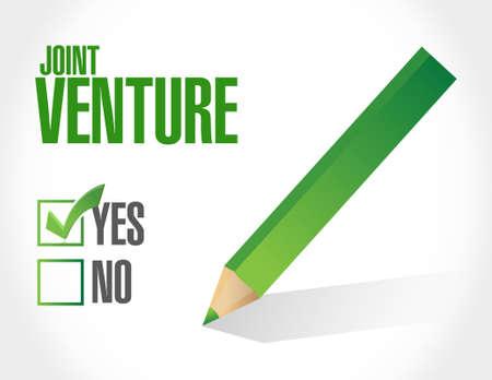 joint venture: Joint Venture approval sign concept illustration design graphic Illustration