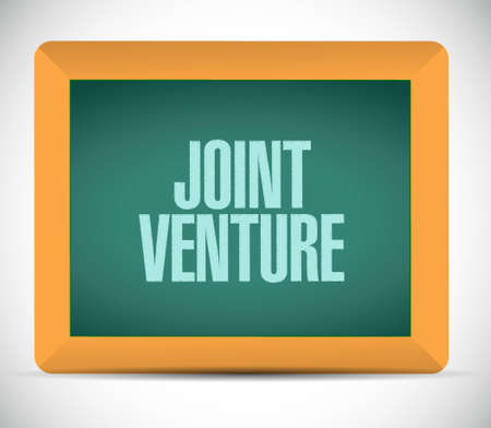 our company: Joint Venture chalkboard sign concept illustration design graphic