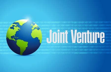 venture: Joint Venture global sign concept illustration design graphic Illustration