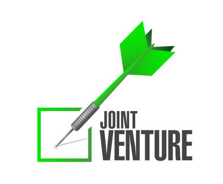 our company: Joint Venture check dart sign concept illustration design graphic