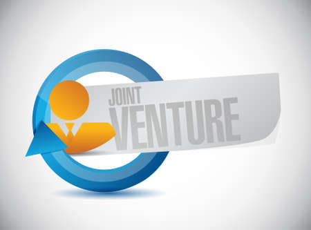 joint venture: Joint Venture people cycle sign concept illustration design graphic