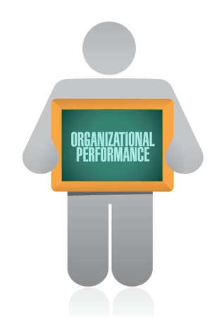organizational: organizational performance holding sign concept illustration design graphic
