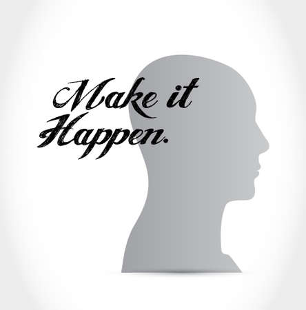 happening: make it happening thinking mind sign concept illustration design graphic