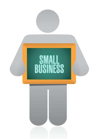 patronize: small business holding sign concept illustration design graphic