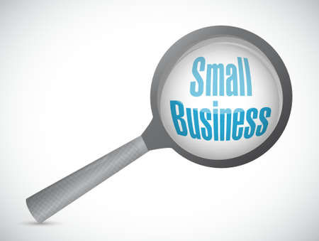 small business: small business magnify glass sign concept illustration design graphic