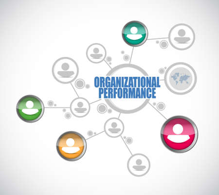 organizacional personas de rendimiento signo de la red ilustración del concepto de diseño gráfico