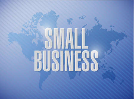 patronize: small business world map sign concept illustration design graphic
