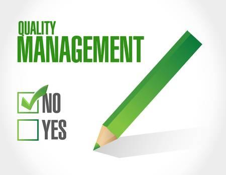 quality management: no quality management approval sign concept illustration design graphic