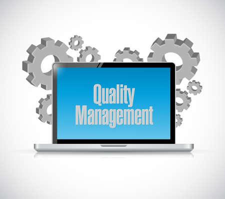 quality management: quality management laptop computer sign concept illustration design graphic
