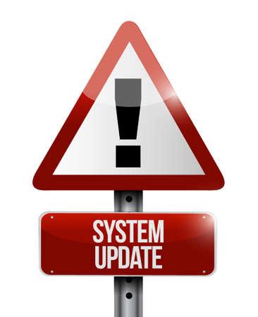 updating: System update warning road sign concept illustration design graphic