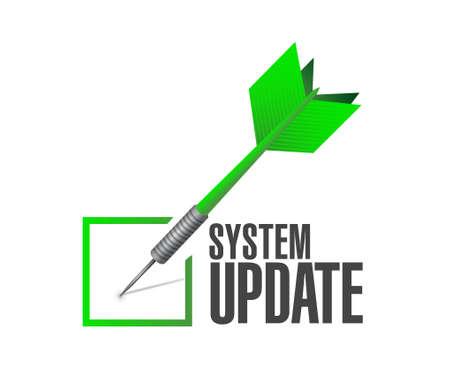updating: System update approval check dart sign concept illustration design graphic