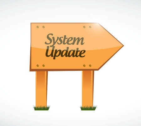updating: System update wood sign concept illustration design graphic