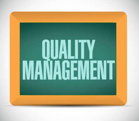 quality management: quality management blackboard sign concept illustration design graphic