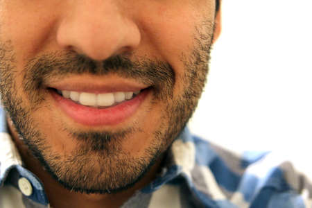 man with beard: Closeup of beard man smiling, bright white Teeth