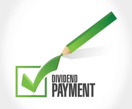 dividend: dividend payment check mark sign concept illustration design graphic