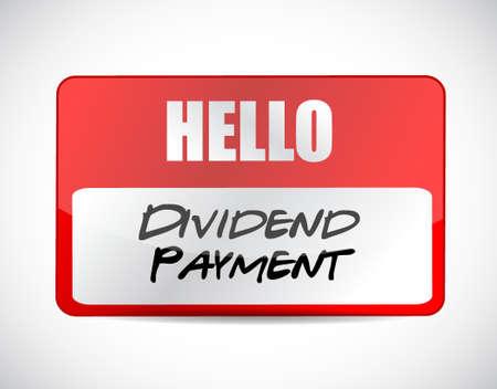 dividend: dividend payment name tag sign concept illustration design graphic