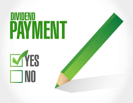 colour pencil: dividend payment approval sign concept illustration design graphic Illustration
