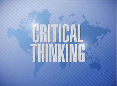 critical thinking: Critical Thinking world map sign illustration design graphic Illustration