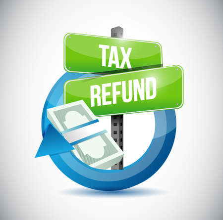 refund: tax refund money cycle illustration design graphic over a white background Illustration