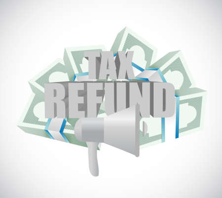 refund: tax refund megaphone messages illustration design graphic over a white background