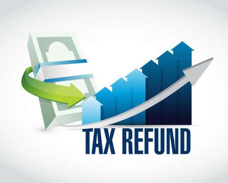 impuestos: reembolso de impuestos de la ilustración gráfica diseño gráfico sobre un fondo blanco