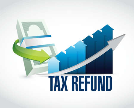 refund: tax refund graph illustration design graphic over a white background Stock Photo