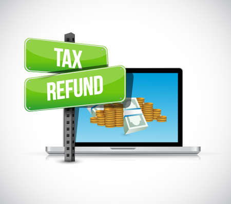 refund: filling tax refund online illustration design graphic over a white background Stock Photo