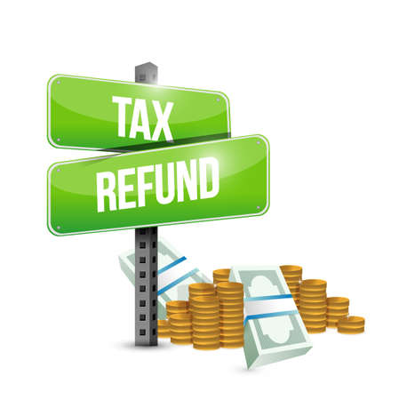 refund: tax refund signs illustration design graphic over a white background