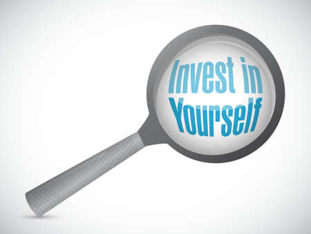 invest: invest in yourself magnify sign message illustration design graphic