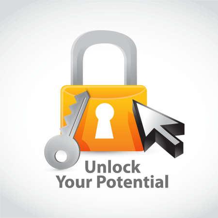 career development: unlock your potencial lock concept illustration design graphic