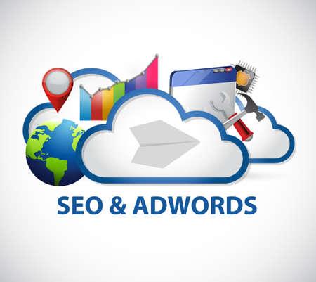 クラウド コンピューティングの seo とアドワーズ広告サイン イラスト デザイン グラフィック  イラスト・ベクター素材