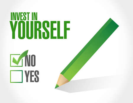 to invest: no invest in yourself approval sign message illustration design graphic