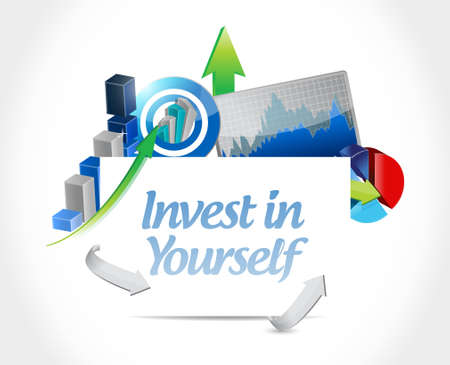 invest in yourself business graph sign message illustration design graphic