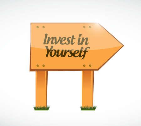 investeren in jezelf hout bericht te ondertekenen illustratie grafisch