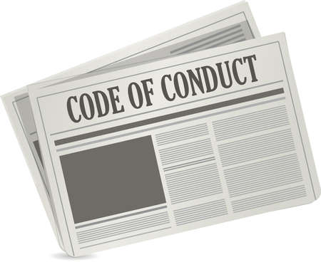 conduct: code of conduct newspaper illustration design graphic over white