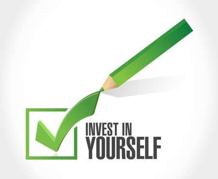 invest in yourself check mark sign message illustration design graphic Векторная Иллюстрация