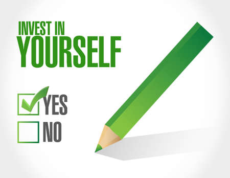 investment: invest in yourself approval sign message illustration design graphic Illustration