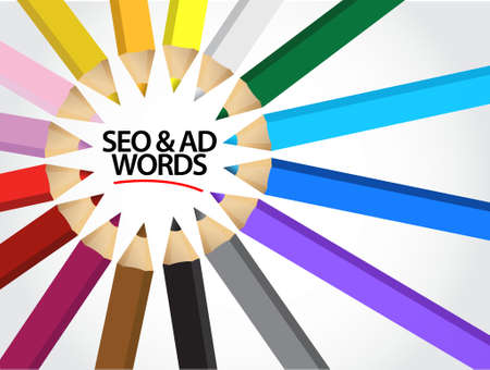 adwords: seo and adwords multiple colors illustration design graphic background Illustration